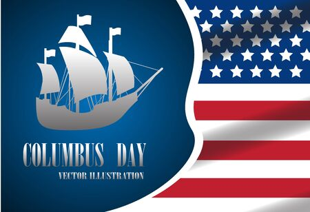Texto de la ilustración el día de Columbus con el barco en la bandera. Foto de archivo - 85349958