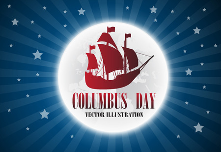 Illustration text Columbus Day with boat on flag.