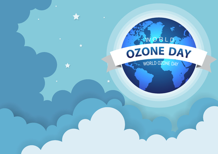 World or international ozone day vector design for poster and greeting background design