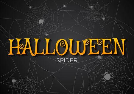 spider web: Greeting card Halloween night spiders web background.illustration.