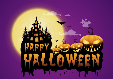 Haunted house and full moon with pumpkins and ghost for Halloween concept vector illustration