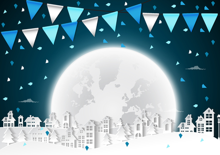 Winter concept background with full moon and city silhouette vector illustration