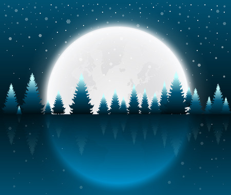 Christmas night concept for greeting cards vector illustration