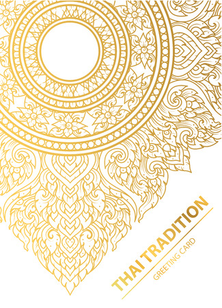 Thai art element Traditional design gold for greeting cards,book cover.vector