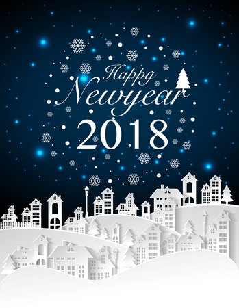 Party Happy New Year 2018 On Urban And Full Moon Background,vector ...