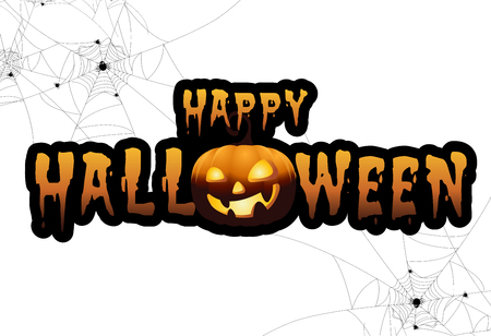 full moon with pumpkins and ghost,Sign party happy Halloween night background.Vector illustration.