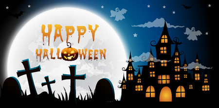 haunted house and full moon with ghost,Halloween night background.Vector illustration. Illustration