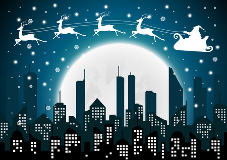 Christmas with Santa Silhouette of the city and night with full moon at the sky.vector