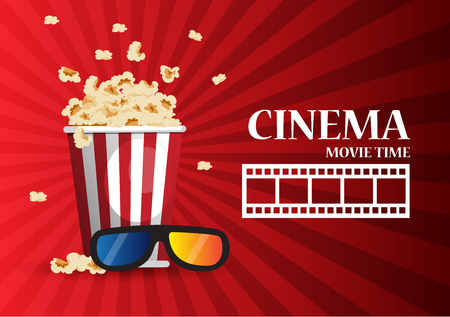 Movie cinema poster design. Vector template banner for show with popcorn Illustration