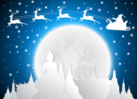 Christmas and santa in Temple Thailand Landmarks and Silhouette, full moon, Travel Attraction and Background