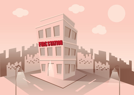 Building of fire station. Set of elements for construction of urban and village landscapes. Vector flat illustration