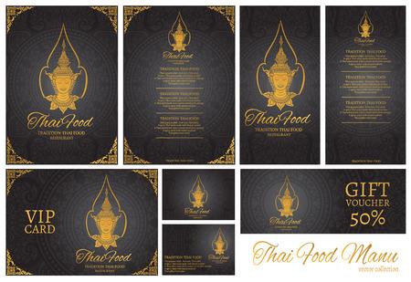 vector thai food restaurant menu template.thai tradition background 矢量图像