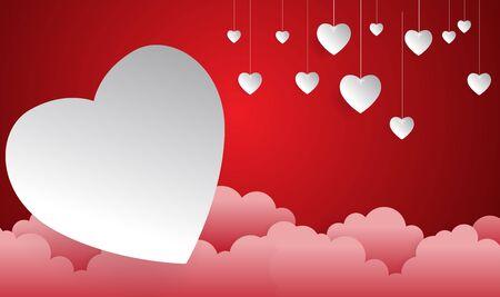 happy valentine day,heart shape float on sky, Paper art style.