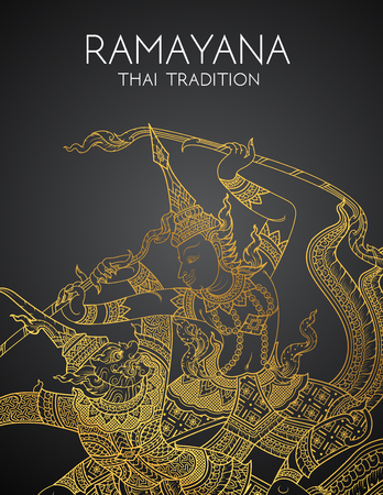 Rama battle a giant of thai tradition style for greeting card design.vector