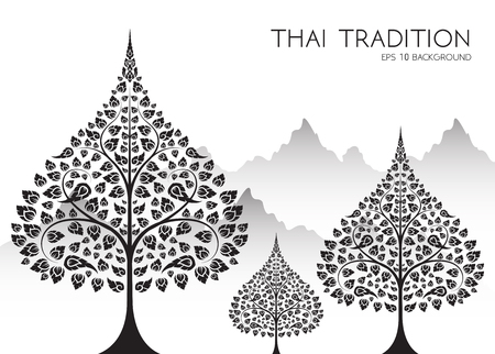 Buddha and Bodhi tree of thai tradition,vesak day,vector