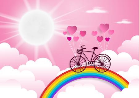 Bicycle riding on a rainbow with valentines day.paper at style. Illustration