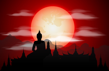 Temple Thailand Landmarks and Silhouette, blood moon, Travel Attraction and Background