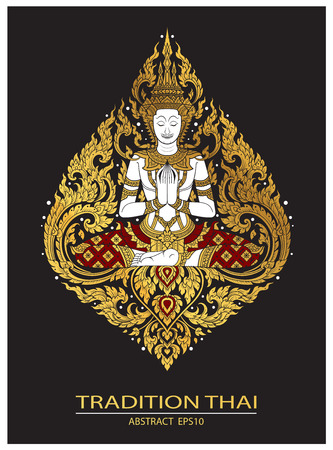 A cover tradition Thai Buddha Jewelry Set isolated on dark background. Illustration