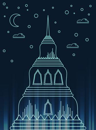 Pagoda Linear modern style vector icon symbol of Bangkok,Thailand