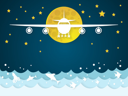 Airplanes with clouds on sea and ocean background.paper art