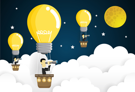 Businessmen flying in the sky on hot air balloon looking through spyglass. Idea concept paper art style vector illustration.