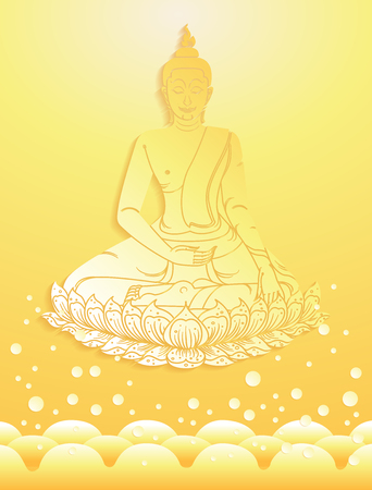buddha thai tradition paper cut on water background