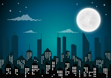 Silhouette of the city and night with  full moon at the sky.vector