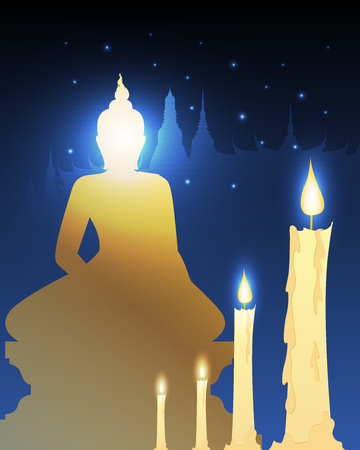 candles and temple Buddhist with vesak day Çizim