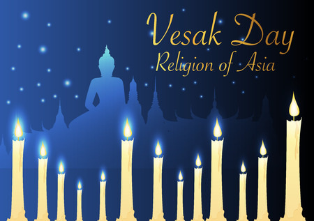 candles and temple Buddhist with vesak day Illustration