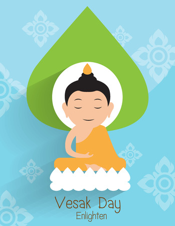 Vesak day greeting card. Buddha Enlighten on the lotus Vector Illustration.