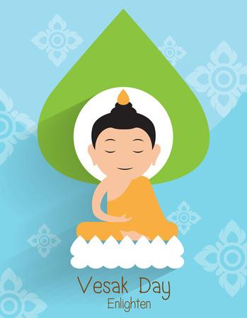 Vesak day greeting card. Buddha Enlighten on the lotus Vector Illustration.