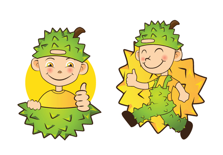 Boys in durian dress,king fruits asia vector