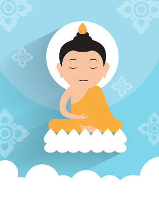 Vesak day.Buddha Enlighten on the lotus Vector Illustration.