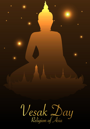 Buddha and Bodhi tree gold color of thai tradition,vesak day