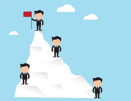 Successful Businessman. Businessman standing with red flag on mountain peak. Business concept cartoon illustration Çizim