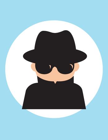Hombre agente secreto, espía caballero del servicio de inteligencia, recopilar información política, comercial, Ilustración de dibujos animados de estilo plano de Vector