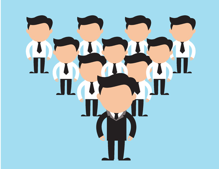 Business team vector concepts. People in strict clothing standing isolated flat illustration. Faceless men characters on working collective Çizim