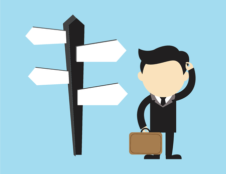 Businessman doubting which direction is the best. Vector illustration