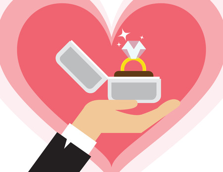 Proposal marriage, vector illustration flat design. Man is holding in hand an open box with a wedding ring and diamond.