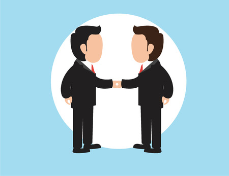 Concept of investment in the business. Two businessmen shake hands,flat style. Vector illustration Çizim