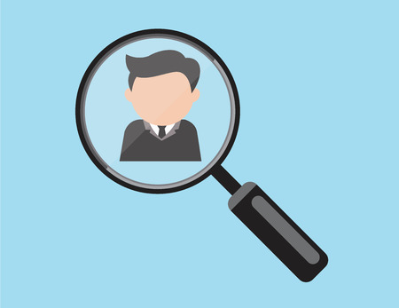 Business man in the frame of magnifying glass as he realize to be chosen or selected.vector Illustration
