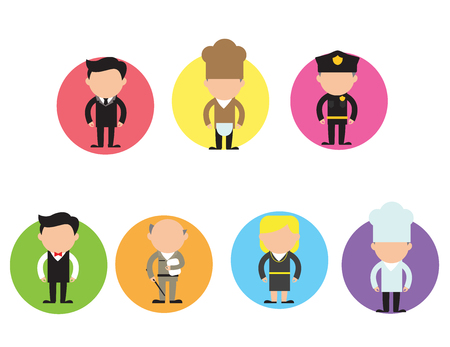 vector set of different profession characters in flat design. Men and women of different careers and jobs line-up