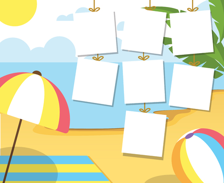 Photo Summertime on the beach. Palms and plants around.Cartoon vector illustration. Summer vacation on sea coast