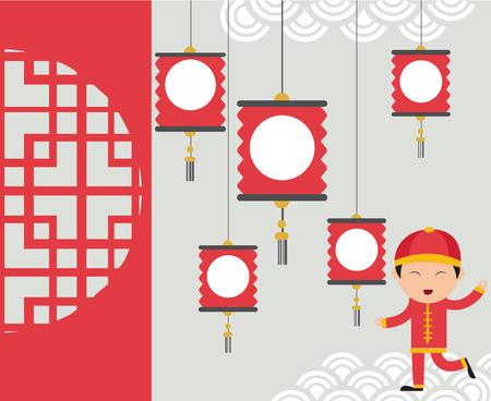 Kids celebrating Chinese New Year background under lantern.vector Çizim