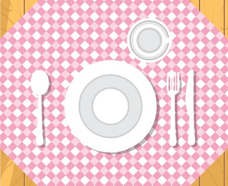 Tavolo da pranzo. Impostazione cena formale. Illustrazione vettoriale di stile piatto isolato.