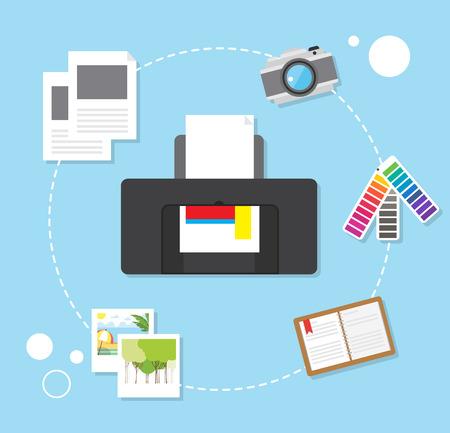 printing vector trendy  design concept, modern flat style Çizim