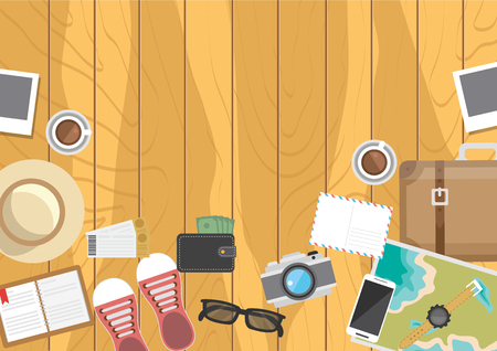Top view Flat vector on the theme of travel,Preparing for your journey.Objects on wooden background.