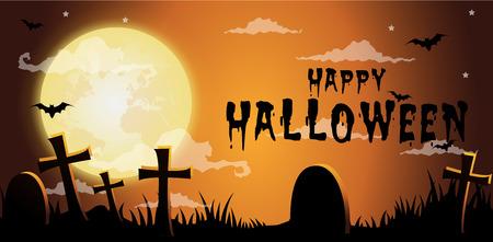 Halloween night background,Gravestones and full moon.Vector illustration.
