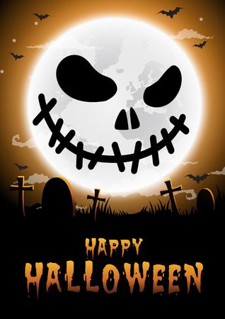Halloween night background,Gravestones and full moon.face pumpk.Vector illustration. Çizim