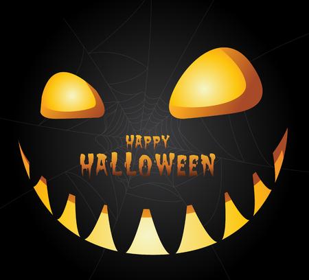 Halloween night background with pumpkin.Vector illustration.
